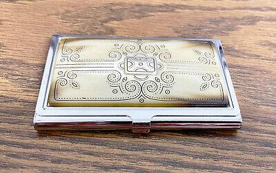 Brighton Chrome Silver Business Card Holder Case Metal Brown