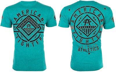 American Fighter Mens T Shirt Birchwood Athletic Crystal Blue Biker Gym Ufc  40