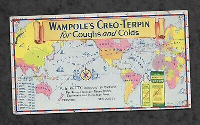 Vintage 1940-50's Ink Blotter ... Wampole's Creo-Terpin for colds