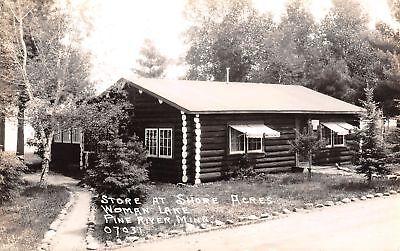 Pine River Minnesota~Woman Lake~Shore Acres Store~Log Cabin~1930s RPPC