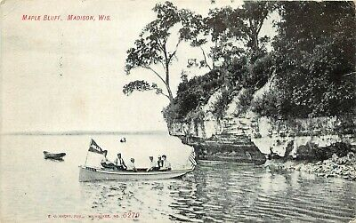 c1907 Printed Postcard; Boating at Maple Bluff, Madison WI posted