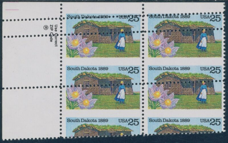 "#2416 Var, ""south Dakota"" 25¢ Top Left Block With Double Perf Major Error Bq8709"