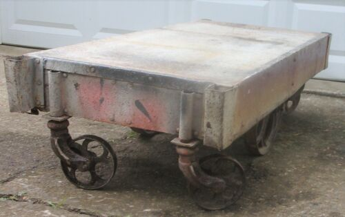 Vintage Factory Cart, Cast Iron Wheels, Heavy Duty, Industrial, Steel