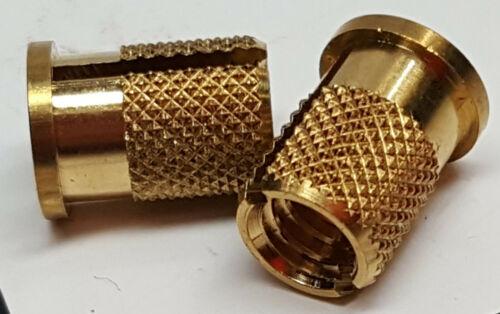 Pair E-Z LOK 260-4-BR 1/4-20 internal threaded flange / knurled brass inserts