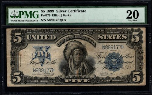 1899 $5 Silver Certificate Indian Chief Note PMG 20 Fr.279 Item #5004966-001