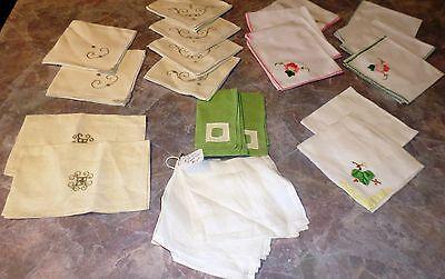 Lot Vintage Napkins Embroidered Applique Flowers Sets 24