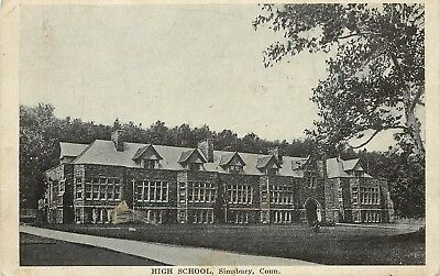 C1910 Printed Postcard High School Simsbury Ct Hartford County Unposted