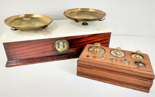 Antique 19th Century 5 Lb. Henry Troemner Apothecary Scale w/Weights & Wood Case