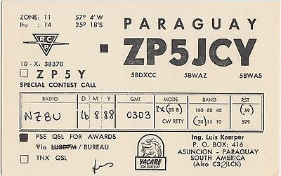 QSL CARD Amateur Radio 1988 PARAGUAY SOuth America