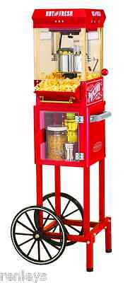 الة صنع الفشار جديد Nostalgia Old Fashioned Kettle Popcorn Maker Cart Red Popper Air Hot Machine NEW