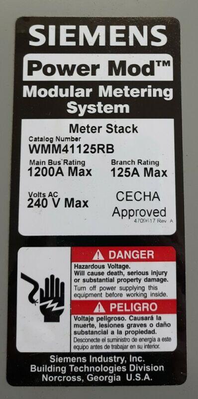 New Siemens WMM41125RB 1200A 240V Power Mod Moduler Metering System Meter Stack