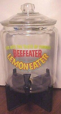 RARE VINTAGE HUGE COMMERICAL BEEFEATER LEMON EATER GIN GLASS DISPENSER W/ STAND