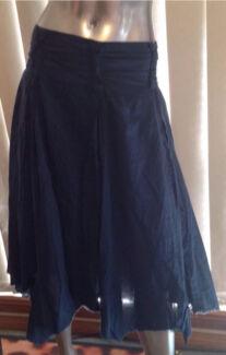 JUNK Navy Blue Asymmetric boho layered cotton skirt 14 M L Parramatta Parramatta Area Preview