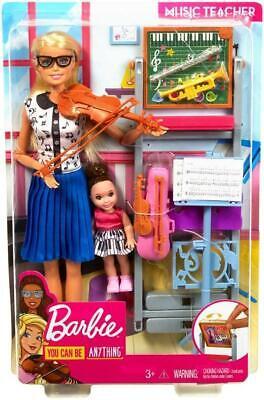 Barbie Música Maestro Muñeca Rubia Set de Juego Con Flipping Pizarra &