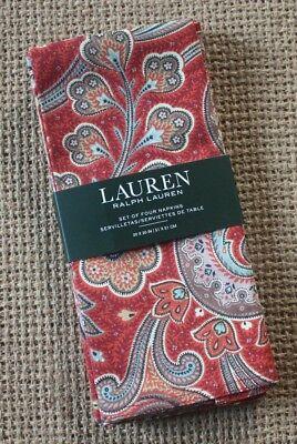 Ralph Lauren ~ Pirouette Paisley ~ Set of 4 Cloth Napkins ~ Gorgeous Autumn Red - Red Cloth Napkins