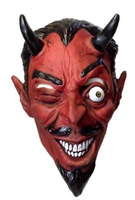 Handsome Red Devil Latex Mask Halloween Adult Evil Demon Costume Accessory