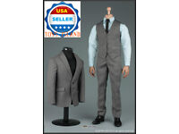 "1//6 Men Business Suit Set GRAY For 12/"" Hot Toys PHICEN Worldbox Male Figure☆USA☆"
