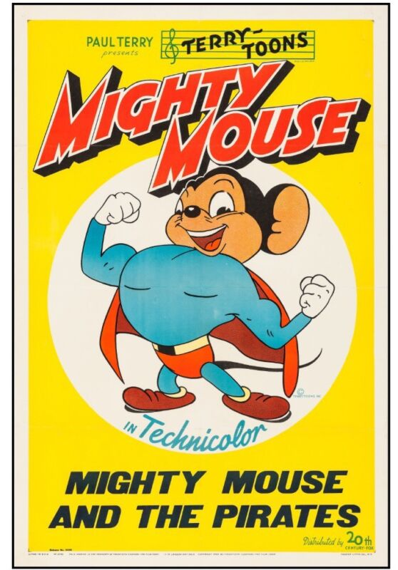 "Mighty Mouse ( 1943). One Sheet (27"" X 41"") ""Mighty Mouse and The Pirates."""