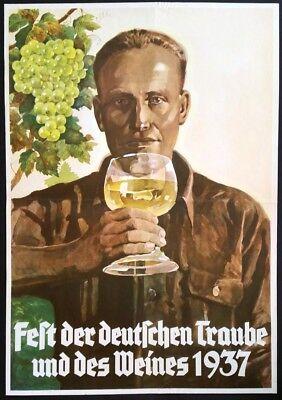 Original-Plakat Poster Werbeplakat Fest der deutschen Traube und des Weines 1937