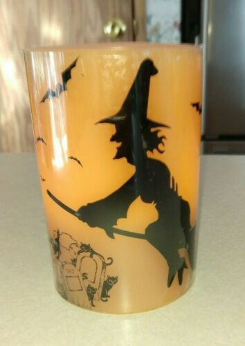 Halloween Flameless Candle GRAVE YARD Witch On Broom BLACK CATS MAKES SOUNDS