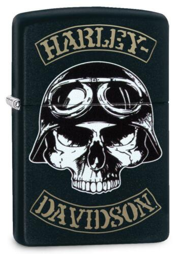 Zippo Harley Davidson Lighter With Logo and Helmet on Skull, 29738, New In Box