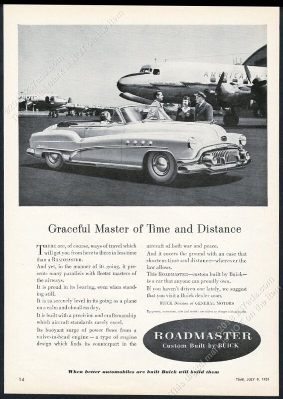 1951 Buick Roadmaster convertible car American Airlines plane photo print ad