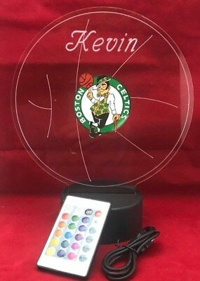 (Boston Celtics NBA Basketball Light Up Lamp LED With Remote Personalized Free)