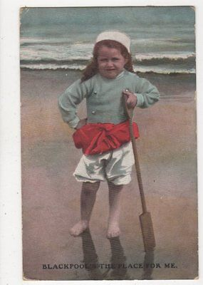 Blackpool Is The Place For Me 1910 Postcard Children 585a