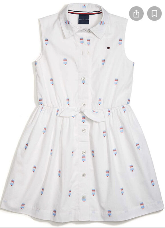 Tommy Hilfiger White Dress Popsicle Print Button Front Sleeveless Size 16