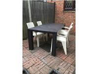 Garden Table and 4 Chairs - Brown and Cream