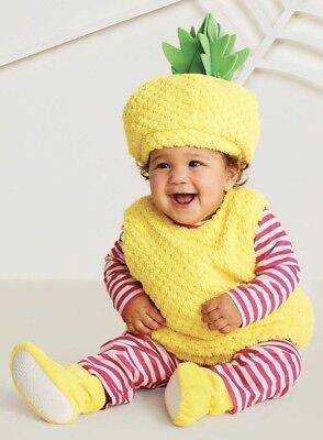Infant Pineapple Costume Plush Outfit 6-12 12-18 Months Baby Hat Halloween New](Halloween Infant Costume)