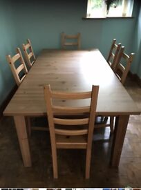 12 seater extendable table and 6 chairs