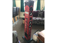Bigben Red Iconic Phone Box Tower Speaker iPod/iPhone Docking Station USB/SD TW1