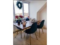 Handmade dining/kitchen tables, desk, benches with industrial hairpin legs