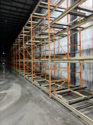 Used 2 Deep Push Back 480 Pallet Positions 65 Per Position Pallet Rack Teardrop