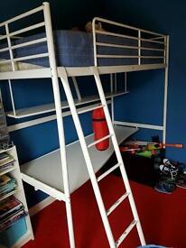 Metal Single Bunk Bed with shelf & desk shelf all in one!