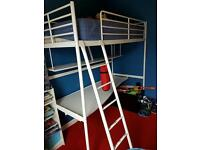 Metal Single Bunk Bed with shelf & desk shelf all in one!