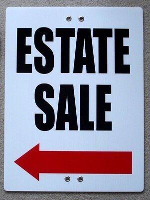 Estate Sale With Arrow Left 18x24 Coroplast Sign Tie To Tree Pole Post Fence W