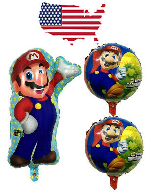 XL Supershape Super Mario Bros 3 Pcs Balloons Birthday Party Balloon foil - Mario Balloon