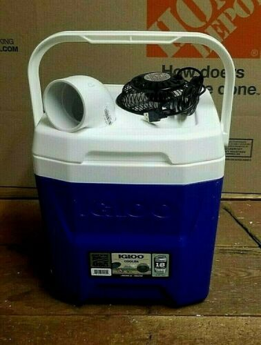 """Onos 12qt Cube Blue Personal Ice Swamp Cooler Portable Air Conditioner 4"""" USB"""