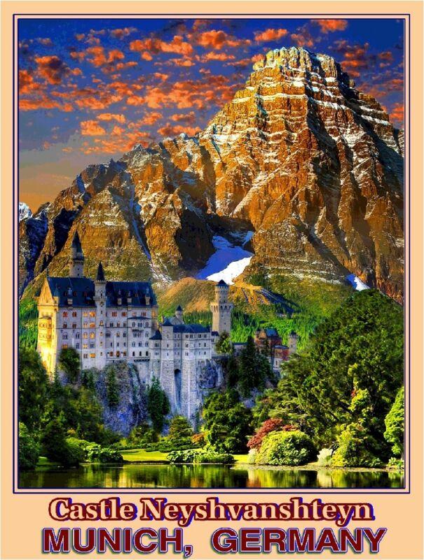 Castle Neyshvanshteyn Munich Germany German Europe Travel Advertisement Poster