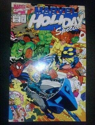 marvel holiday special artist signed larry hama coa thanos & gamora christmas