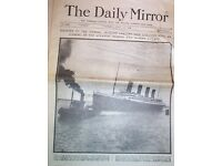 Rare Titanic Newspaper. 1912 Misreporting saying EVERYONE SAFE