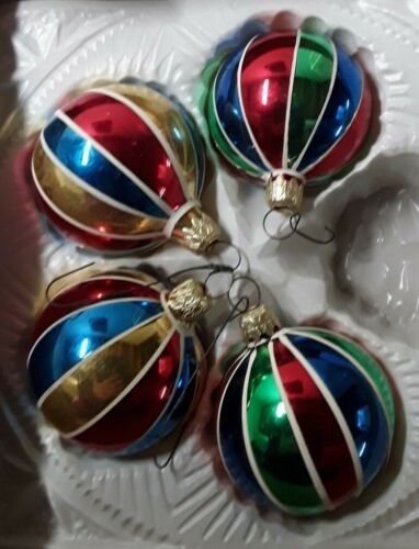 Vintage Multicolored Mouth Blown Hand Painted Glass Christmas Ornaments West... - $12.00