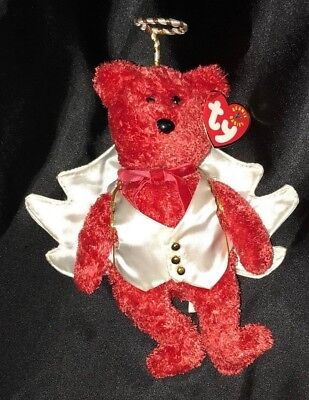 Ty Beanie Baby Christmas Angle Costume ~Tender Heart Treasure w Sizzle Red Bear  - Ty Costume