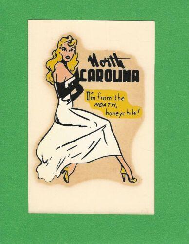 "VINTAGE ORIGINAL 1950 SOUVENIR ""MISS NORTH CAROLINA"" STATE PINUP WATER DECAL ART"
