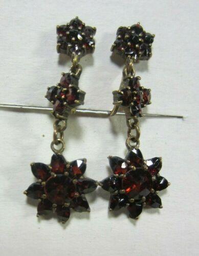 Antique Victorian Rose Cut Garnet Earrings