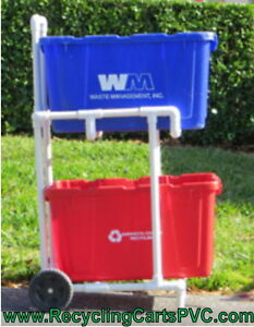 recycling cart pvc recycle bin cart w wheels. Black Bedroom Furniture Sets. Home Design Ideas