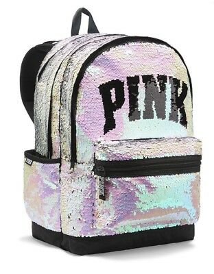 Victorias Secret PINK CAMPUS Backpack BLING SILVER GOLD SEQUINS - BRAND NEW - Sequin Pink Backpack