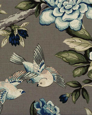 Drapery Upholstery Fabric Linen Like Cotton Birds & Flowers Print - Lt. Brown